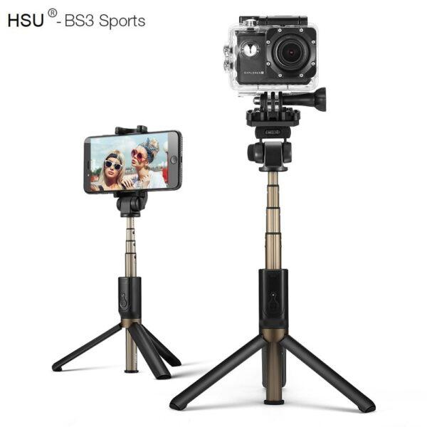 Селфи стик 5 в 1 HSU Sport – със стойка за Телефон и Камера(трипод) + Bluetooth дистанционно | iPhone /Android - HSU-3-in-1-Wireless-Bluetooth-Selfie-Stick-Mini-Tripod + camera holder_0