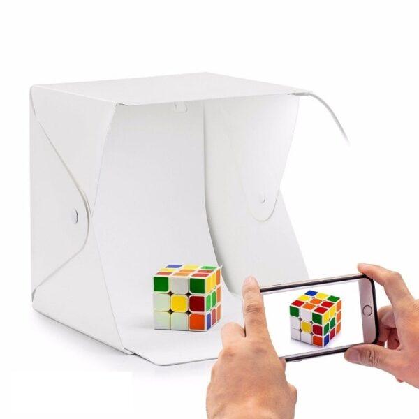 Фотографска кутия 20 | 30 | 40 см за предметна фотография с лед осветление - portable photo box studio 20-30-40 cm for product photography with Led lighting_01