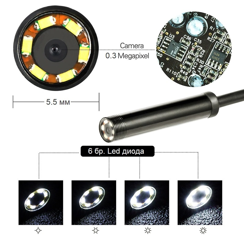 USB Ендоскопска камера | водоустойчивa | 5.5мм за Android и PC