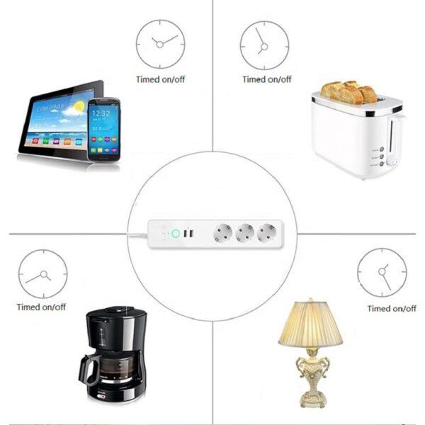 WiFi Смарт Разклонител - 16А 4000W с 3 х гнезда и 2 х USB | 2.4A - Wifi Smart Power Strip 3 Outlets and 2 usb - 16 A_00