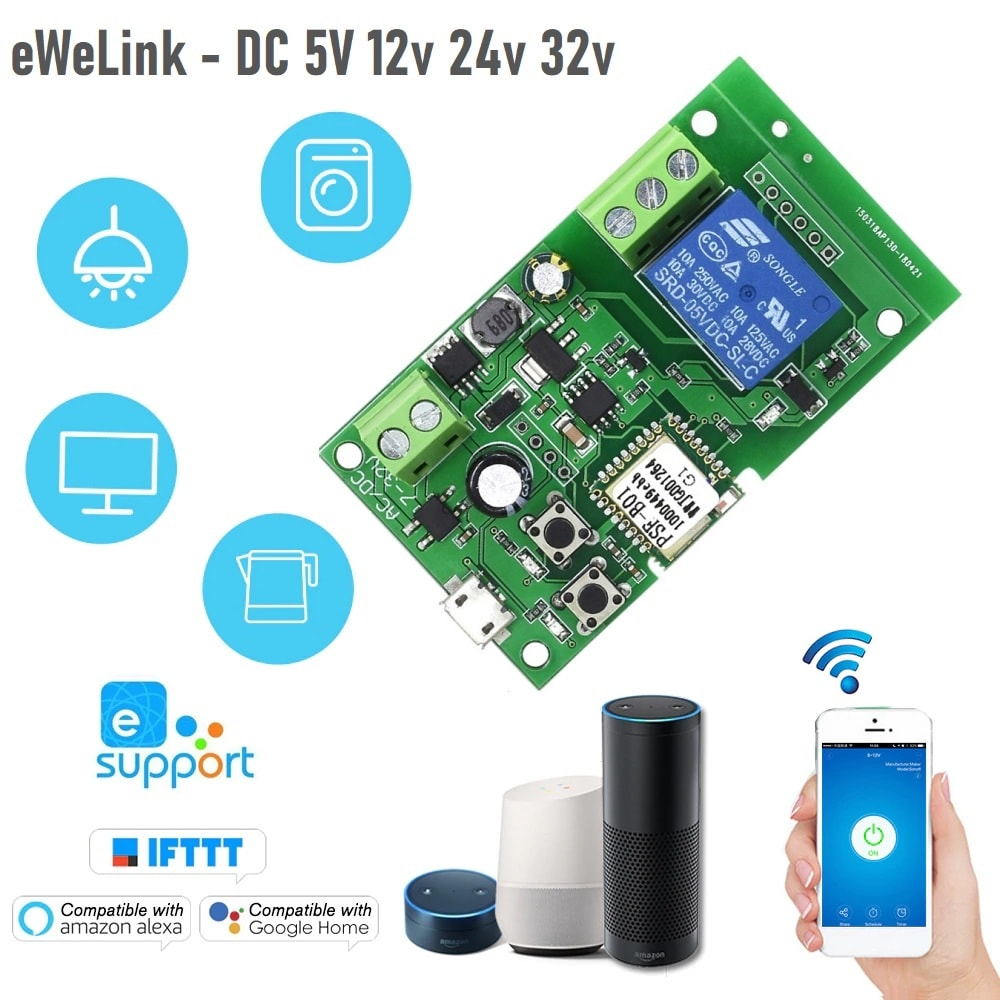 eWeLink wifi превключвател DC 5V 12v 24v 32v + Inching | самозаключване - ewelink-wifi-switch-dc-5v-12v-24v-32v-inching-self-locking-wireless-relay-module_00
