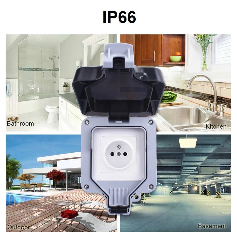 Smart Home - IP66 водоустойчива кутия за защита на открит външен контакт   ключ