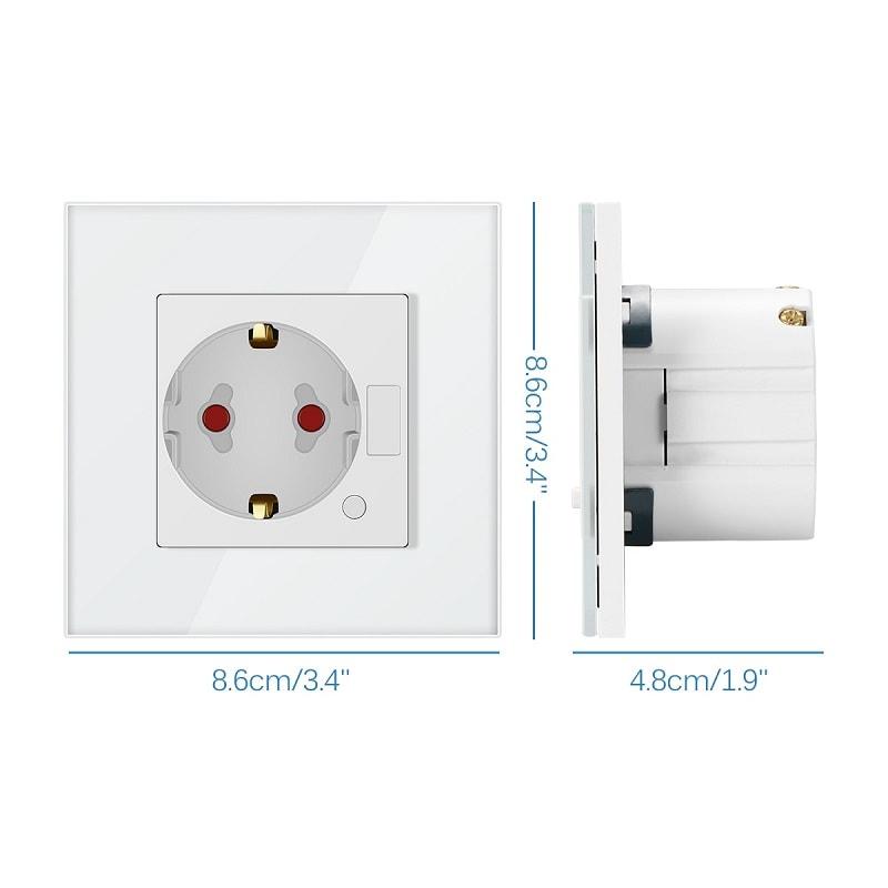 Wifi Smart Контакт за стена със стъклен панел – управление с Android / Apple - smart-wall-socket-wifi-android-apple-eu - 10A 2200 w