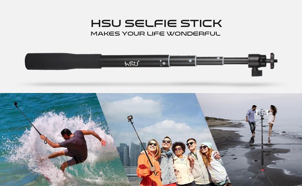 Професионален Селфи стик HSU 5 в 1 + Дистанционно   до 122 см   трипод   водоустойчив GoPro/iPhone /Android