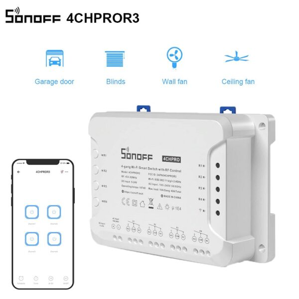 НОВО Sonoff - 4CH PRO R3 WiFi | 40А / 8800W | AC / DC 24 V | 4 изхода | RF 433mhz | монтаж на DIN шина - SONOFF 4CH PRO R3 Smart WiFI Switch_01