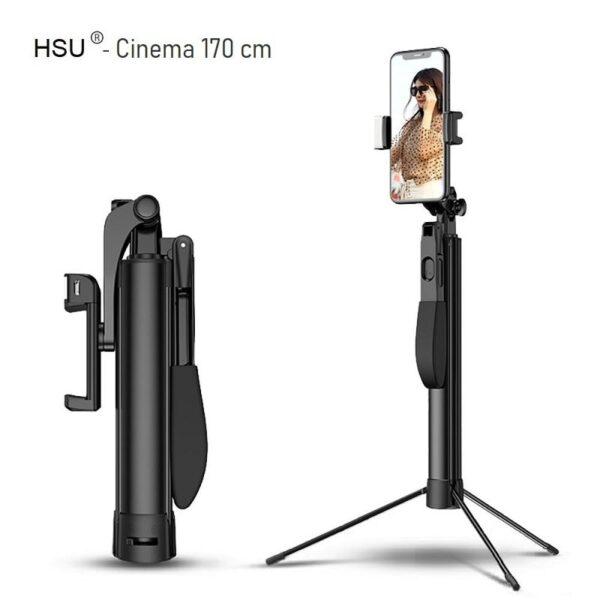 Селфи стик 5 в 1 HSU Cinema 170 см - Видео стабилизатор | Tрипoд + Bluetooth дистанционно Selfie stick 5 in 1 HSU Cinema 170 cm - Video stabilizer Tripod Bluetooth remote-00